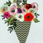 French Chevron Flower Pot