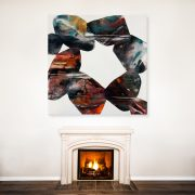 26492437 - luxurious white marble fireplace and empty wall for your text, logo, images, etc