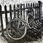 Bicycle against fence - linocut