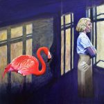 `The Watch house' Flamingo surreal painting