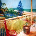 Beach Balcony Original Watercolor Painting