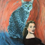 Surreal cat Hollywood painting