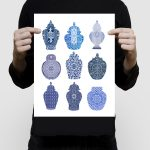 Playing card ginger jars limited edition print