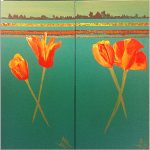 ORANGE TULIPS ON AQUA