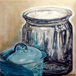 Blue Pot and glass vessel