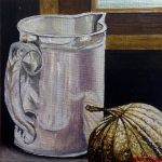 Still life with pumpkin and jug