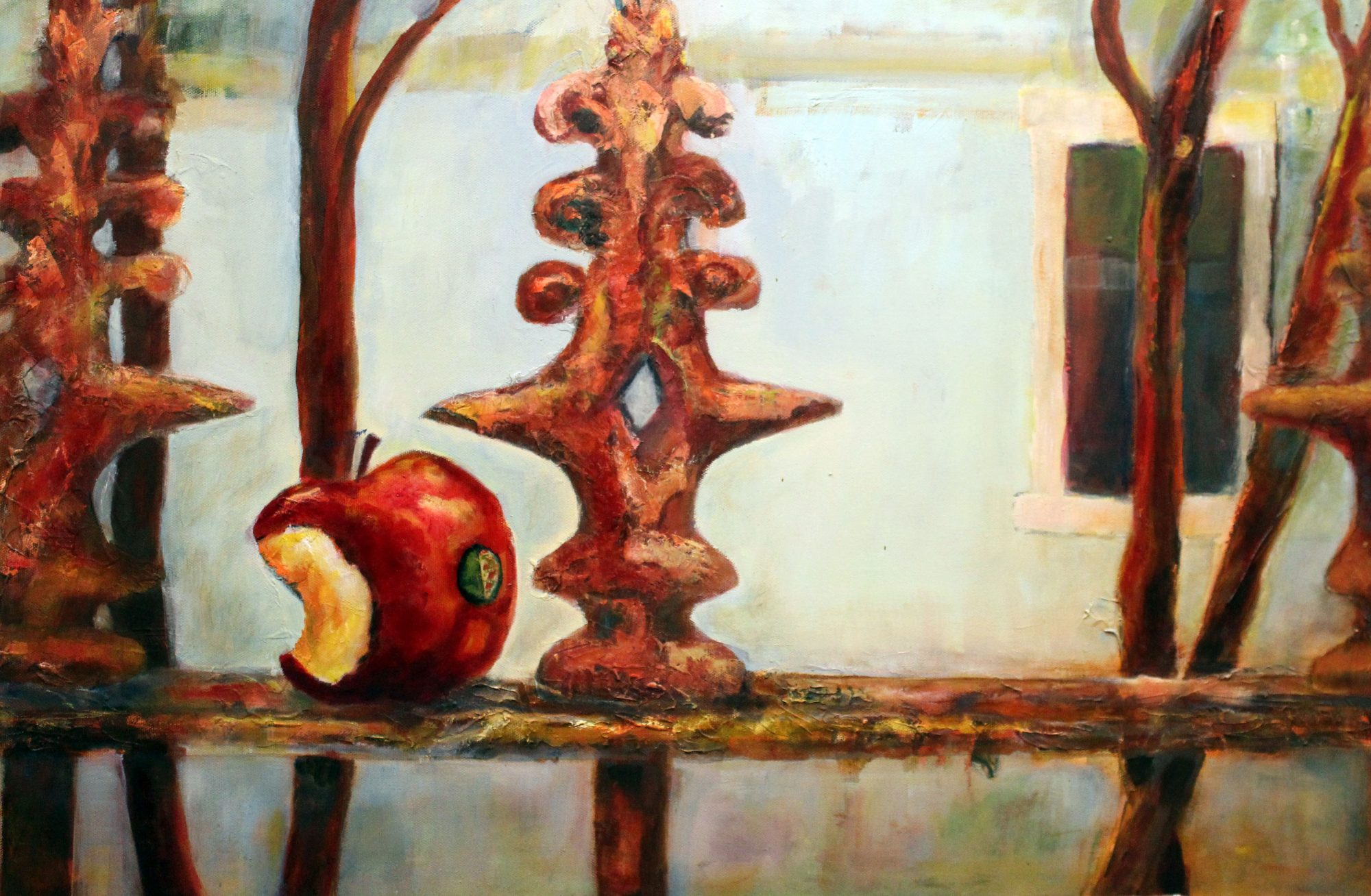 the-bus-arrived-no-time-to-finish-my-apple-76x50cm-oil-and-acrylic-on-canvas-350