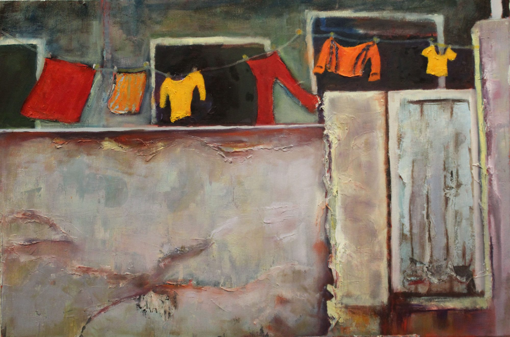 the-washing-line-75x50cm-oil-and-acrylic-on-canvas-300