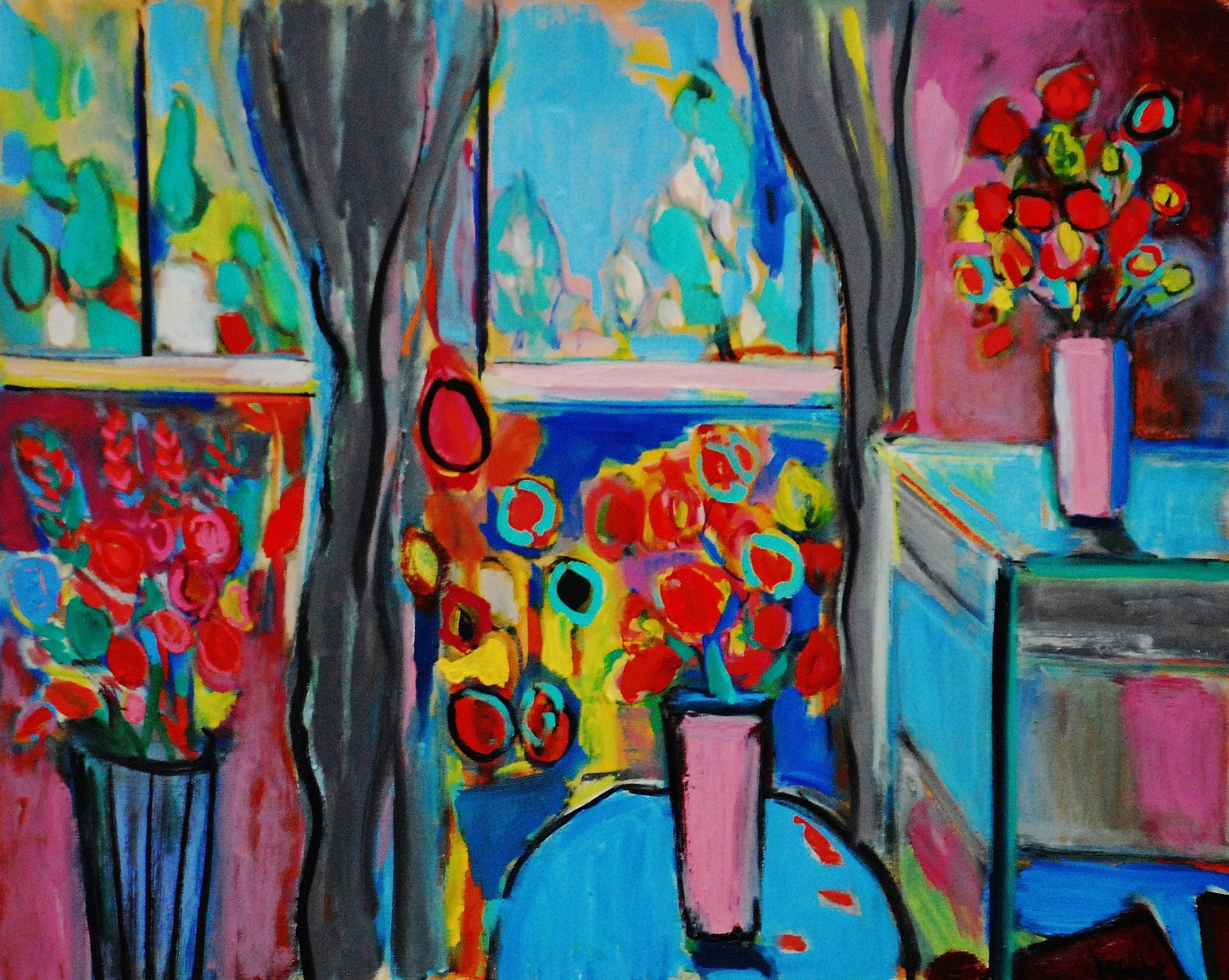 The blue table 76x61cm (2)
