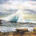 """Clouds & Waves / Sydney Maroubra Beach"" – seascape watercolour painting"