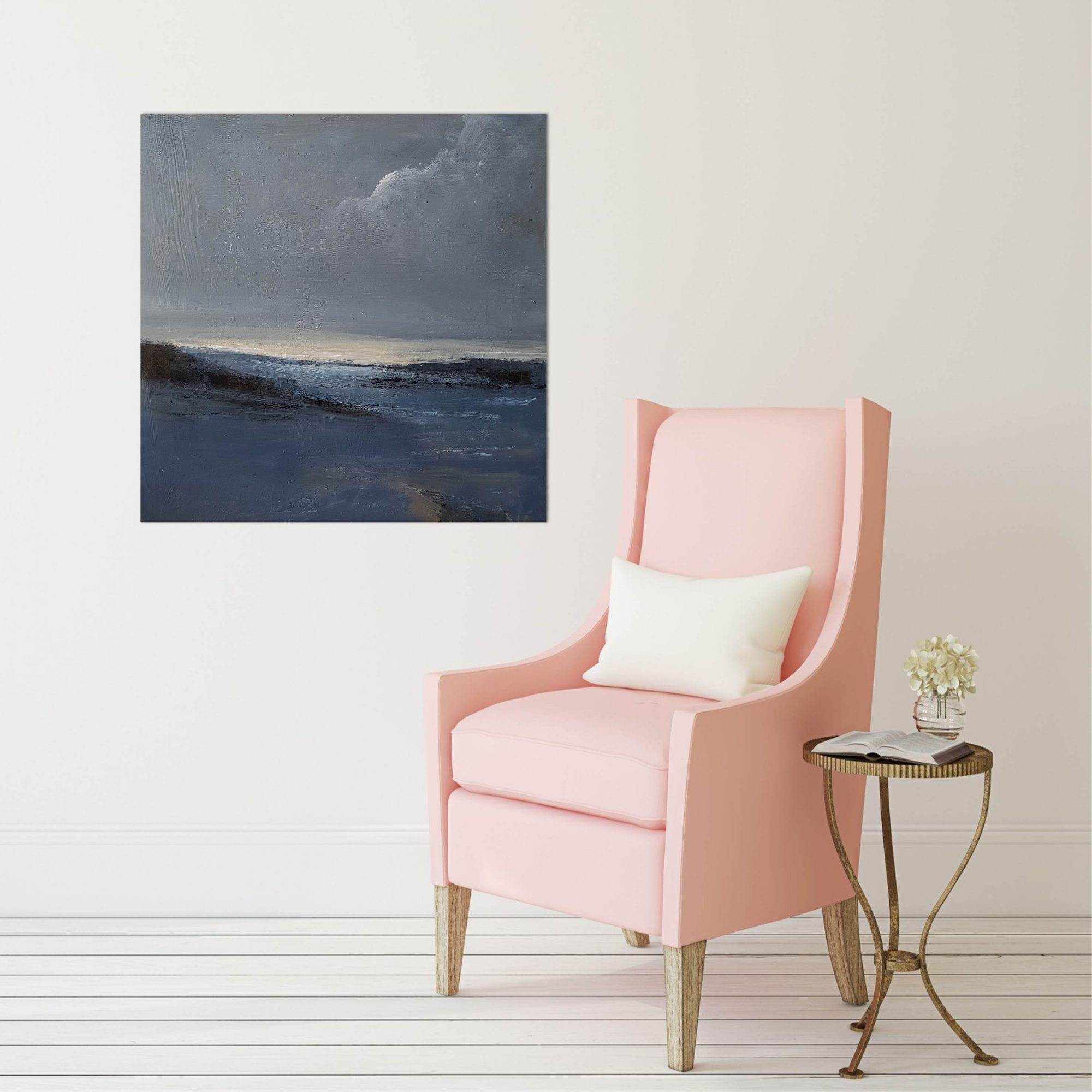 Inlet with pink chair