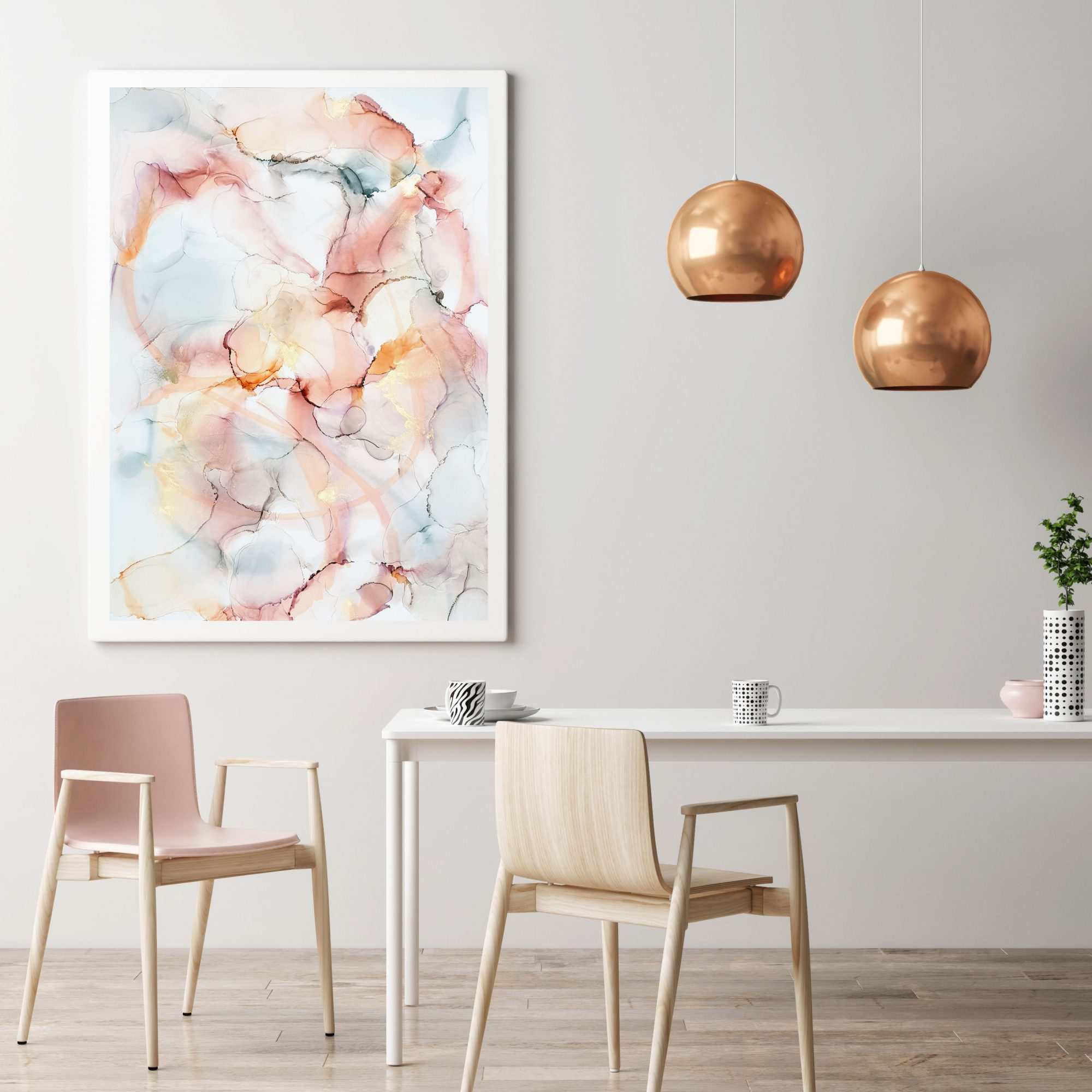Mock up poster in hipster interior background, Dining room