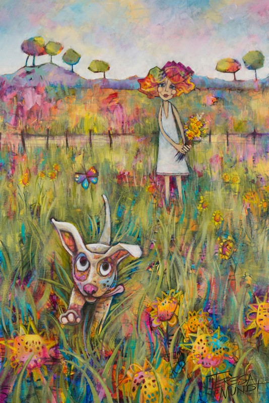 Frolic by Teresa Mundt_colourful_colorful_girl_dog_butterfly_contemporary_landscape_art_painting