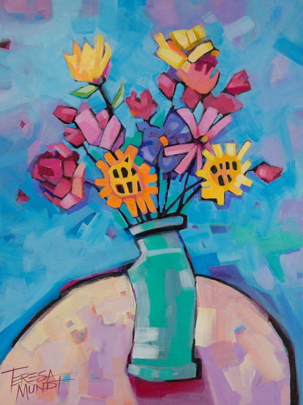 Green Vase by Teresa Mundt_colourful_colorful_floral_still life_flowers_art_painting