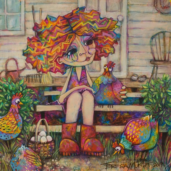 I only have eggs for you by Teresa Mundt_colourful_colorful_girl_chooks_chickens_contemporary_art_painting_SIGNED