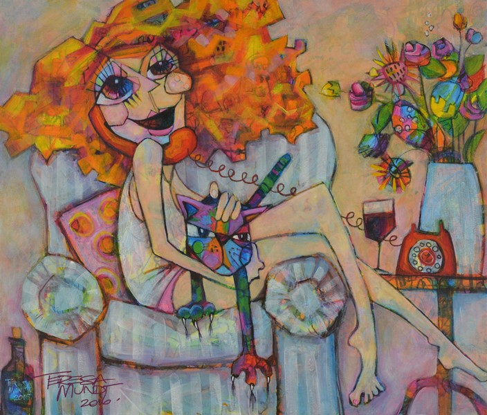 On the Blower by Teresa Mundt_colourful_colorful_lady_woman_girl_cat_wine_cartoon_contemporary_art_painting
