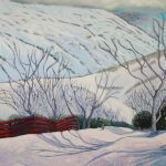 Red fence in the snow, Guthega, Kosciuszko