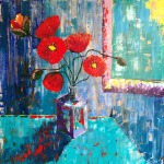 Poppies in a purple vase
