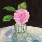Pink Camellia Watery Green Vase