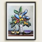 Blooming Blue Budgies Ltd Ed Print