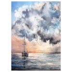 """A boat"" – seascape watercolour painting"