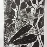 Flowering gum woodblock print