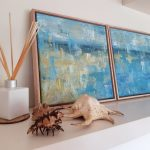 Aquamarine dream diptych – beach abstract