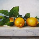 Lemons on marble bench
