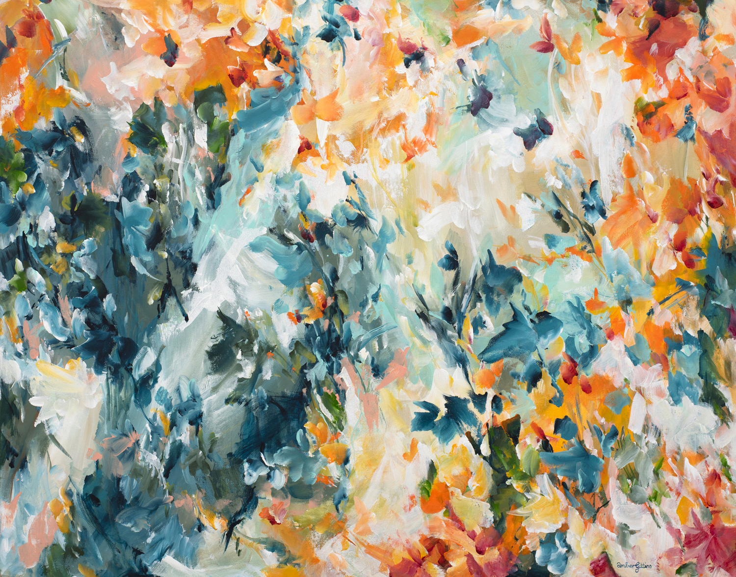The Fires Came Colourful Abstract Painting By Amber Gittins