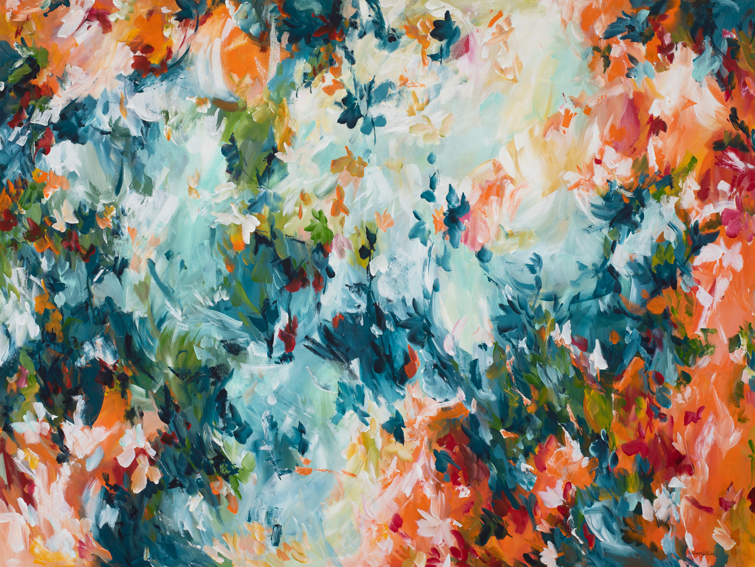 Wild Fire Large Abstract Painting By Amber Gittins