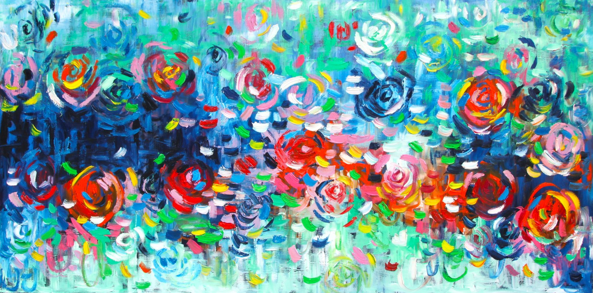 Belinda Nadwie Art Abstract Painting Raindrops On Roses
