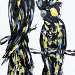 Yellow tail black cockatoos on white