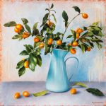 Cumquat Branch in Blue Jug – Ltd Ed Print on Canvas