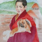 Tibetan Spaniel Dog In The Arms Of A Tibetan Monk