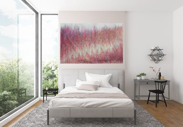 Artist Leni Kae Interior Design Bedroom 1 All We Need In Heart Pink Red Abstract Landscape Art