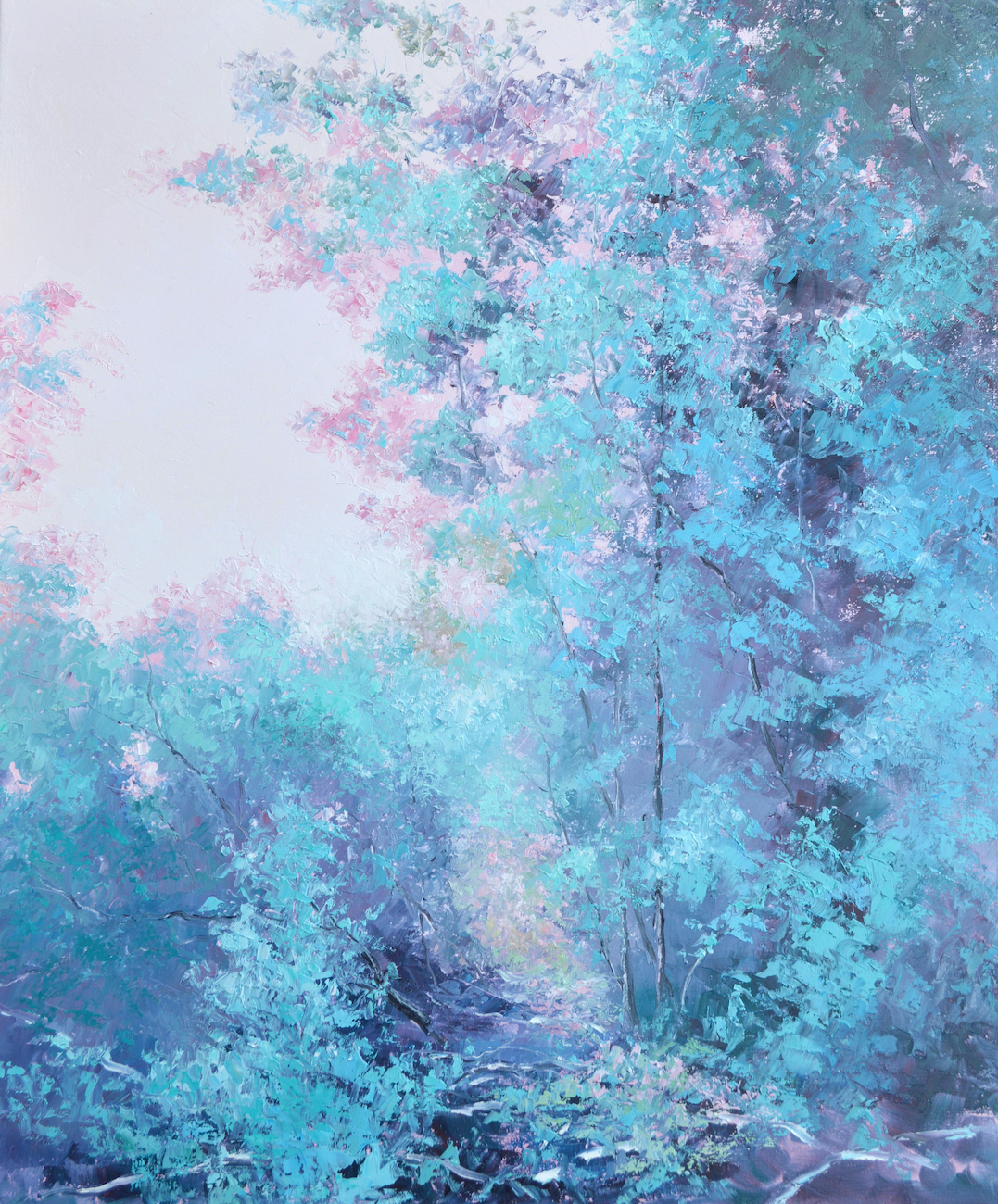 Dusky Pink And Turquoise Trees, Landscape Painting By Jan Matson