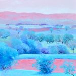 Landscape in Aqua and Pink
