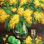 Still Life With Mimosas and Green Apple
