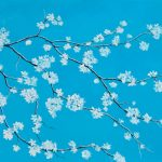 White Blossom on Turquoise Blue