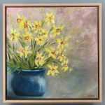 Study of Daffodil Flowers in Blue Vase (Framed)
