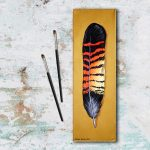 Red-Tailed Black Cockatoo Feather painting on canvas