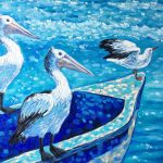 Ready for adventure – pelicans and seagull on a boat